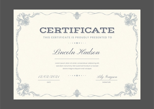 Engraving hand drawn ornamental certificate template Free Vector