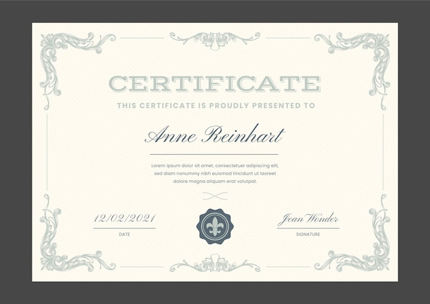 Engraving hand drawn ornamental certificate template