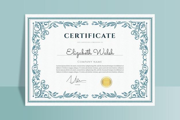Engraving hand drawn ornamental certificate Free Vector