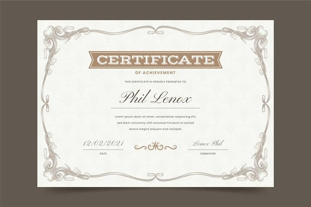 Engraving hand drawn ornamental certificate