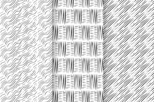 Collezione di modelli disegnati a mano di incisione