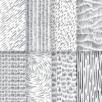 손으로 그린 패턴 컬렉션 조각 프리미엄 벡터