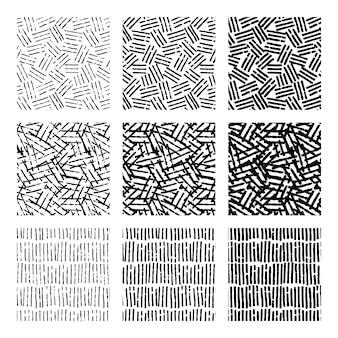 조각 손으로 그린 패턴 팩 무료 벡터
