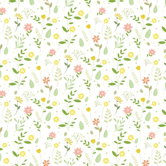 손으로 그린 누르면 된 꽃 패턴 조각