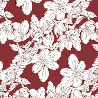 Modello di fiori pressati disegnati a mano di incisione
