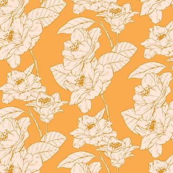 Engraving hand drawn pressed flowers pattern