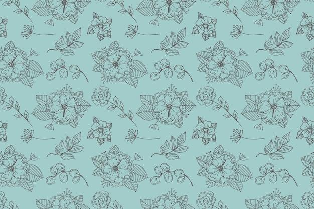 Гравюра рисованной прессованные цветы шаблон