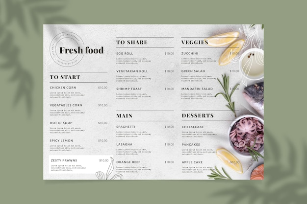 Engraving hand drawn rustic restaurant menu template with photo