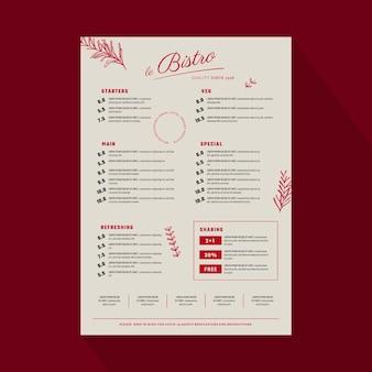Гравюра рисованной деревенский шаблон меню ресторана