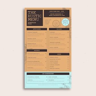Modello di menu ristorante rustico disegnato a mano di incisione