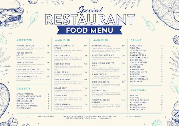 Engraving hand drawn rustic restaurant menu template