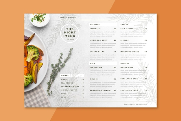 Engraving hand drawn rustic restaurant menu with photo