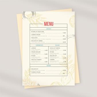 Menu ristorante rustico disegnato a mano di incisione