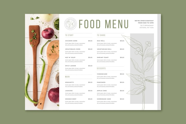 Гравюра рисованной деревенского меню ресторана