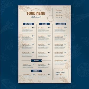 Engraving hand drawn rustic restaurant menu