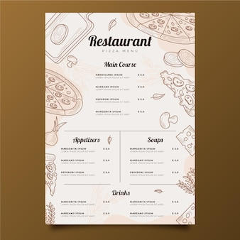 Engraving hand drawn rustic restaurant vertical menu template