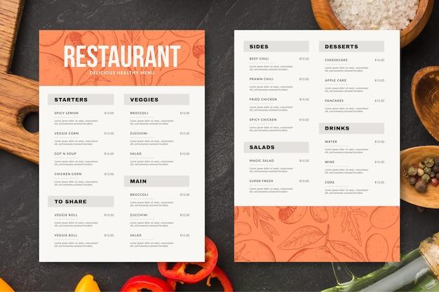 Гравюра рисованной деревенский вертикальный шаблон меню ресторана