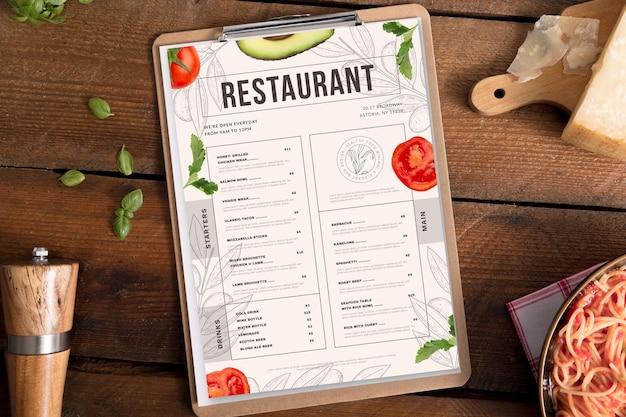 Engraving hand drawn rustic vertical restaurant menu template