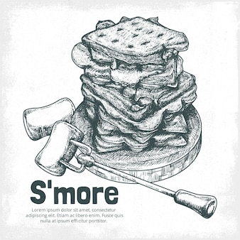 Engraving hand drawn s'mores dessert illustrated