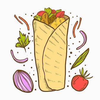 Engraving hand drawn shawarma illustration