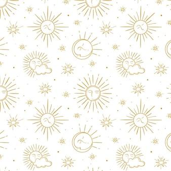 Engraving hand drawn sun pattern