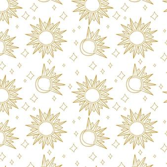 手描きの太陽のパターンを刻む