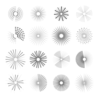 Engraving hand drawn sunburst collection