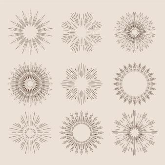 Гравюра рисованной коллекции солнечных лучей