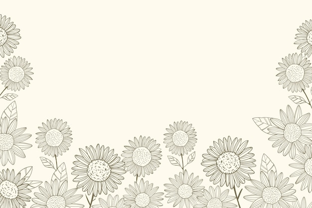 Engraving hand drawn sunflower border with copy space