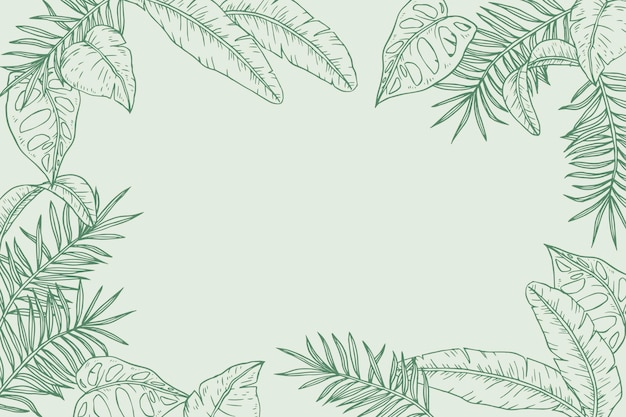 Engraving hand drawn tropical leaves background