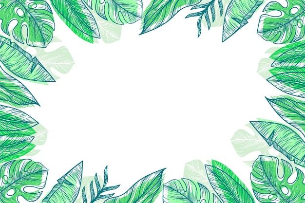 Incisione disegnata a mano foglie tropicali sfondo