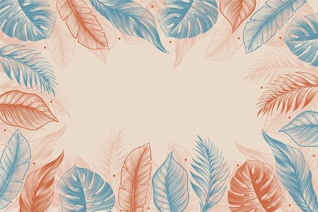 Гравюра рисованной тропических листьев фон