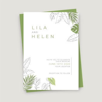 手描きの結婚式の招待状のテンプレートを刻む