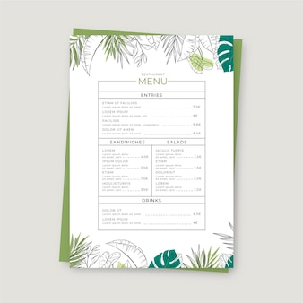 手描きの結婚式のレストランのメニューテンプレートを刻印