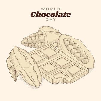손으로 그린 세계 초콜릿 하루 그림 조각