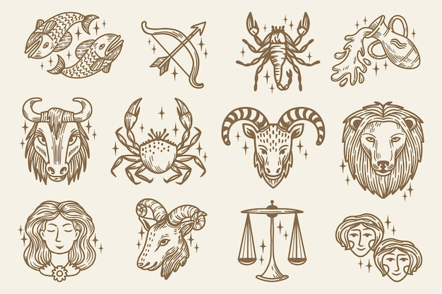 Engraving hand drawn zodiac sign collection