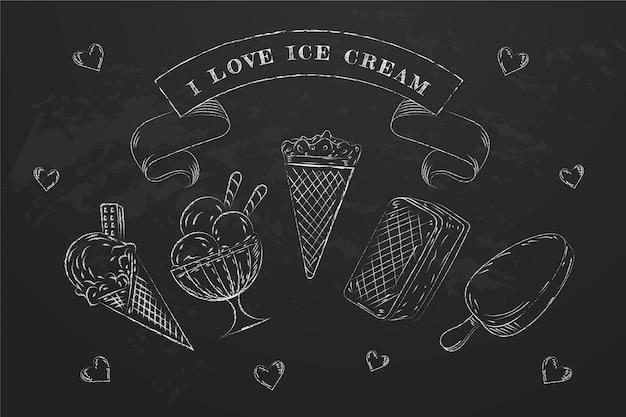 Гравюра мороженого на доске фон