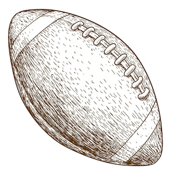 Engraving illustration of american football ball
