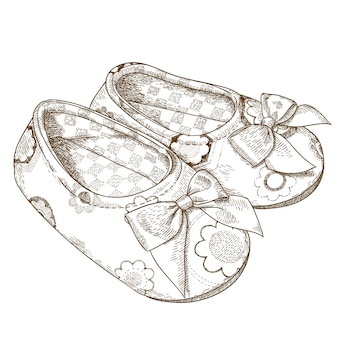 Engraving illustration of baby slippers