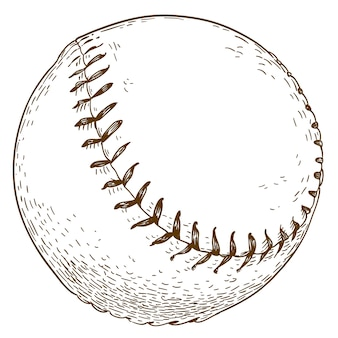 Engraving  illustration of baseball ball