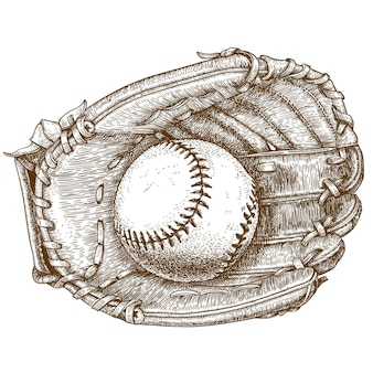 Engraving  illustration of baseball glove and ball