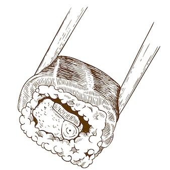 Гравюра иллюстрации суши