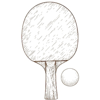Engraving illustration of ping pong table tennis racket and ball