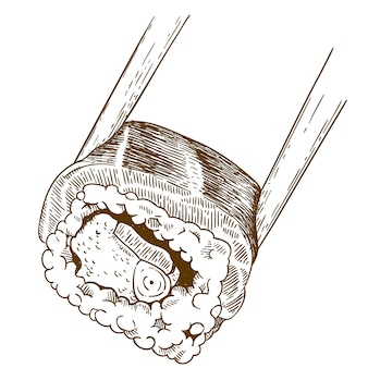 Engraving  illustration of sushi