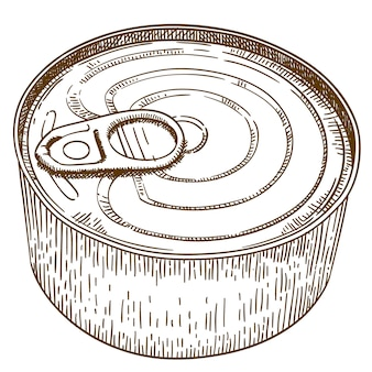Engraving  illustration of tin can