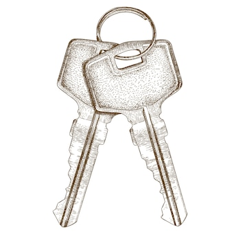 Engraving illustration of two keys