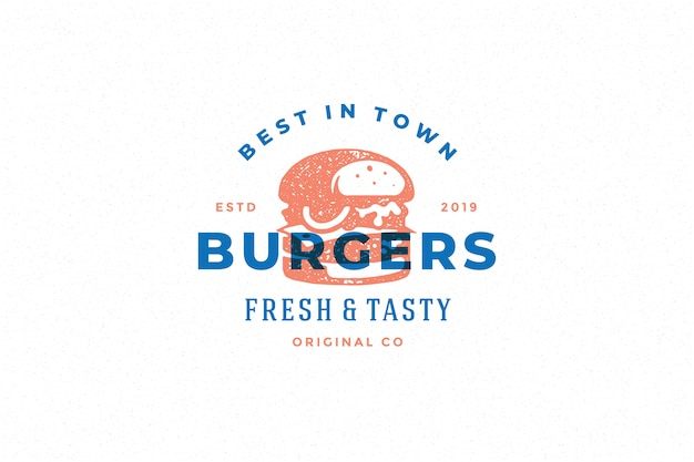 Engraving logo burger silhouette and modern vintage typography hand drawn style.