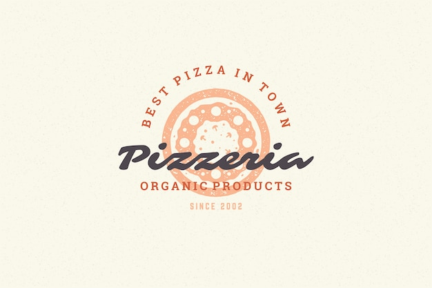 Engraving logo pizza silhouette and modern vintage typography hand drawn style.