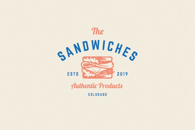 Engraving logo sandwich silhouette and modern vintage typography hand drawn style.