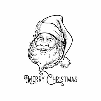 Engraving logo santa claus with font merry christmas